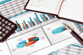 Business Still Life with Finance Stats — Stock Photo