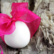 Single Easter Egg with Purple Bow — Stock Photo #5125675