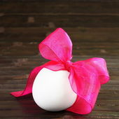 Festive Easter Egg on Dark Square Card — Stock Photo