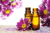 Essential Oil with Flowers and Salt — Stock Photo