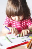 Little Girl Enthusiastic Drawing — Stock Photo