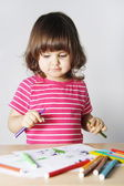 Little Girl Thinking What to Draw — Stock Photo