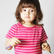 Stockfoto: Little Girl Thinking What to Draw