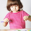 Stock Photo: Little Girl First Drawing