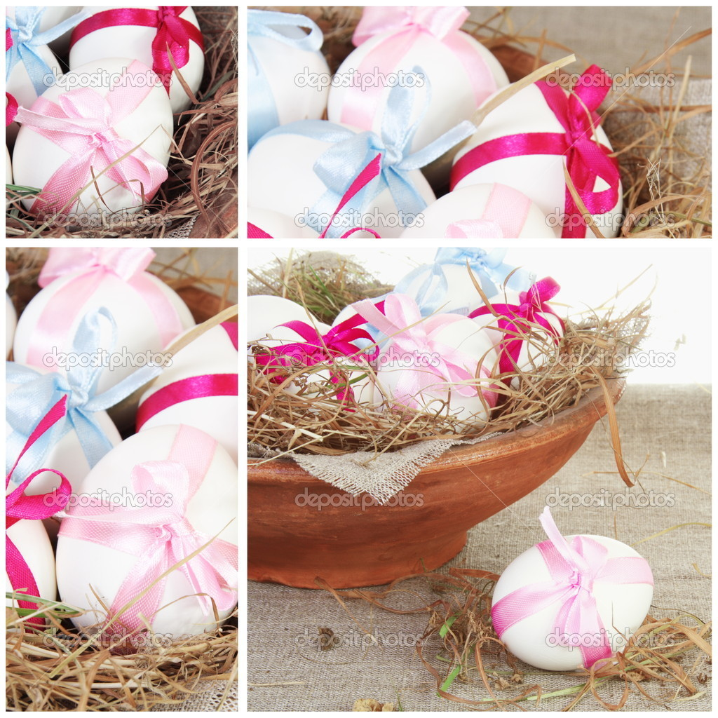 Easter Festive Collage Square with Tied Eggs  Stock Photo #5240827