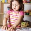 Little Girl Learning Figures and Letters — Stock Photo