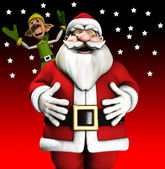 Santa And Elf — Stock Photo