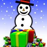 sněhulák a dárkové zabalené dárky — Stock fotografie