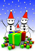 Snowman Family And Presents — Stock Photo