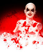 Evil Bloody Clown Falling To Bits — Stock Photo