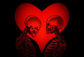 Skeletons With Love Heart — Stock Photo