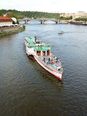Boat On The Vltava River In Prague — Stock Photo