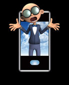 Nerd And Mobile Phone — Stock Photo