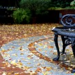 Stock Photo: Street view at autumn with bench and leaves