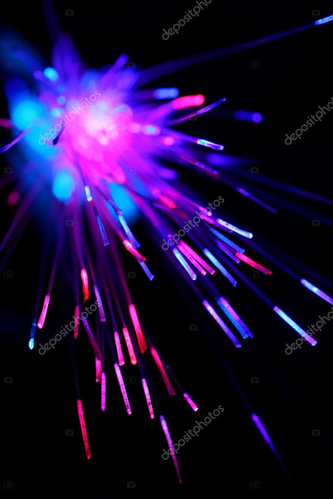 Optical Fibers internet equipment on black background — Stock Photo #3940427