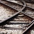 Stock Photo: Confusing railway tracks