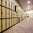 School Hallway with Student Lockers - Stock Photo