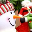 Christmas background with Santa and snowm - Stock Photo