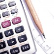 Стоковое фото: Close-up of ruler,calculator,and pencil,focus on pencil-tip