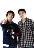 Two asia man with camera — Stock Photo