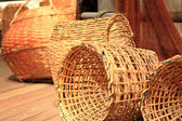 Many yellow Wicker Basket — Stock Photo
