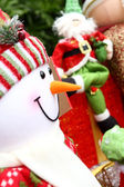 Christmas background with Santa and snowm — Stock Photo