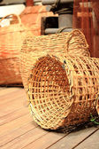 Many yellow Wicker Basket — Stockfoto
