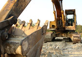 Heavy Duty Construction Equipment Parked at Worksite — Stock Photo
