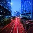 Light trail at busy highway — Stock Photo