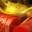 Chinese new year ornament--Gold ingots,firecrackers — Stock Photo