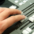 Closeup of audio mixing console. Shallow depth of field. Studio — Stock Photo