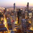 Chicago in schemerlicht — Stockfoto