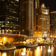 Chicago riverside at night — Stock Photo