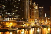 Bord de la rivière dans la nuit de chicago — Photo