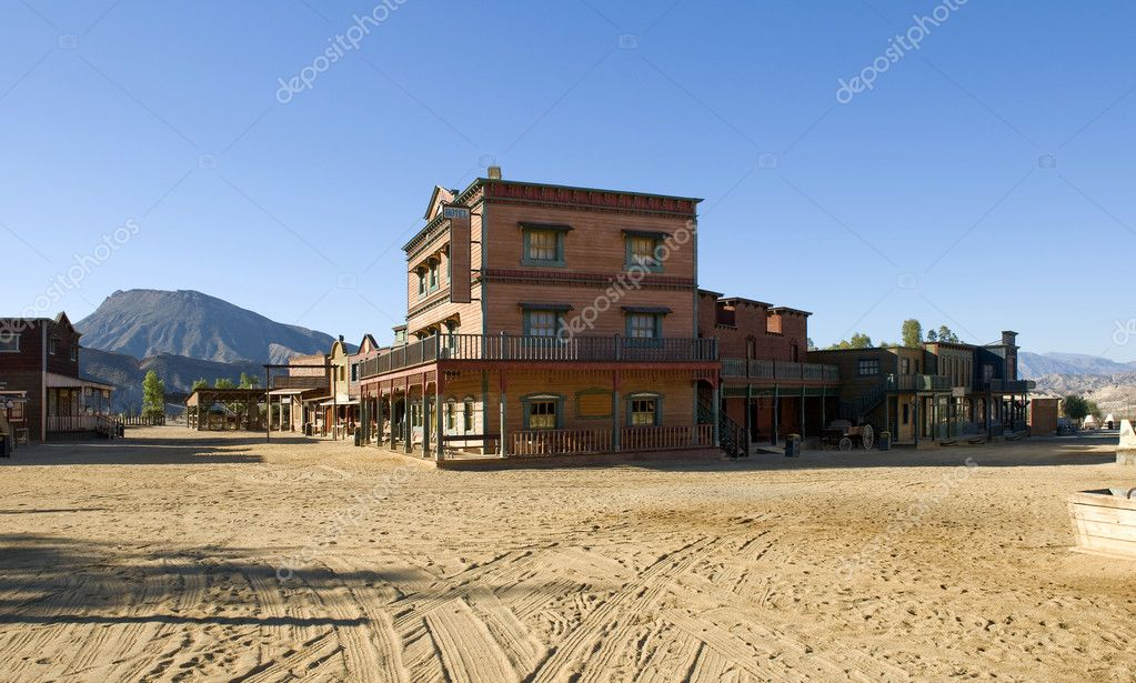 Western town Movie Set at Mini Hollywood Spain  Stock Photo #4225390