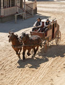 Sheriff and his Deputy driving a stagecoach — Stock Photo