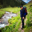 Backpacker in summer mountains — Stock Photo #4690870