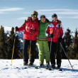 Friends at the ski resort — Stockfoto