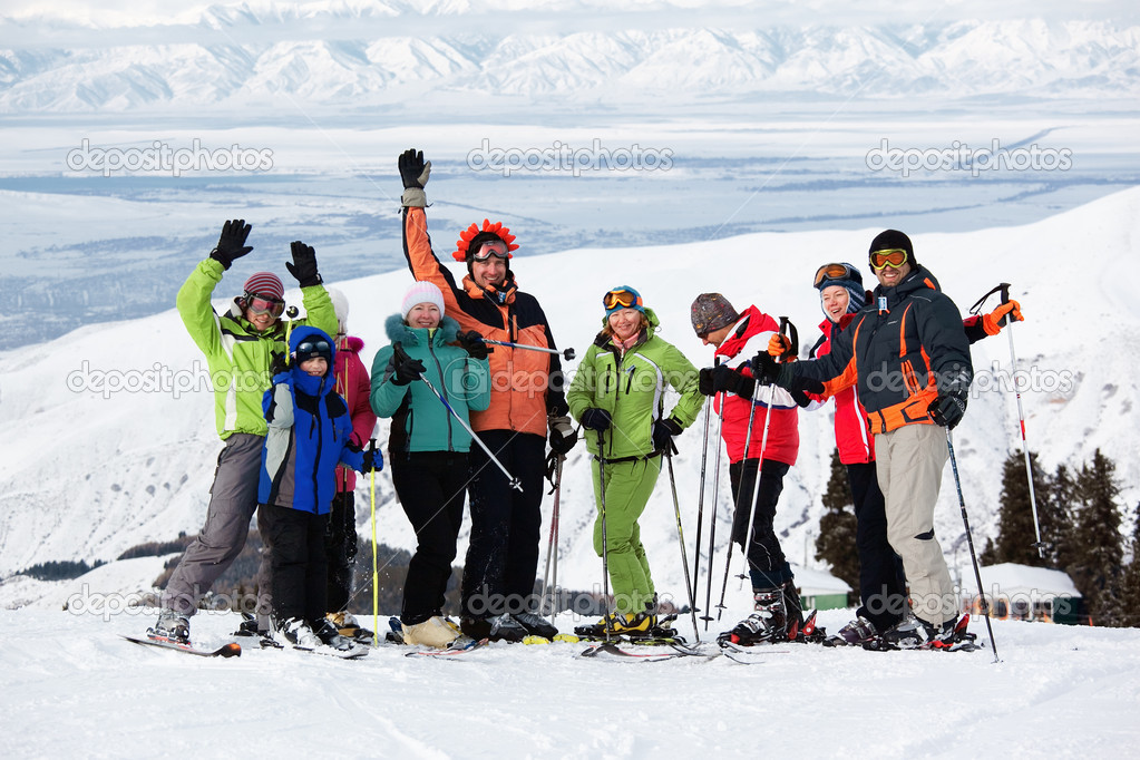 Group of friends, enjoying at mountain ski resort — Photo #4831064