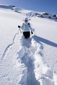 Vrouw op een pad van de sneeuw in de bergen — Stockfoto