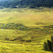 Curved small river on meadow - Stock Photo