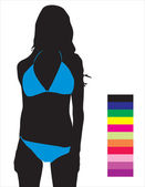 Samples of colors of bathing suits for girls — Stock Vector
