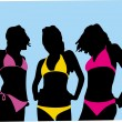 Stock Vector: Girls in bathing suits