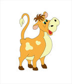The character for a cartoon film. A cheerful brown cow with stains — Stock Vector