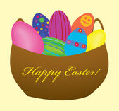 Background. Easter. Color glossy Easter eggs in a basket — 图库矢量图片