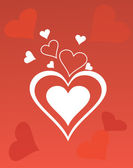 Abstract background. A red background with white hearts — 图库矢量图片