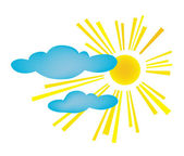 Background. Design of summer day. The sun with clouds — Stock Vector