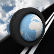 Stock Photo: Protector with planet Earth on asphalt. 3D