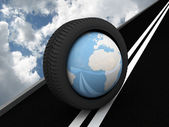 Protector with planet Earth on the asphalt. 3D — Stock Photo