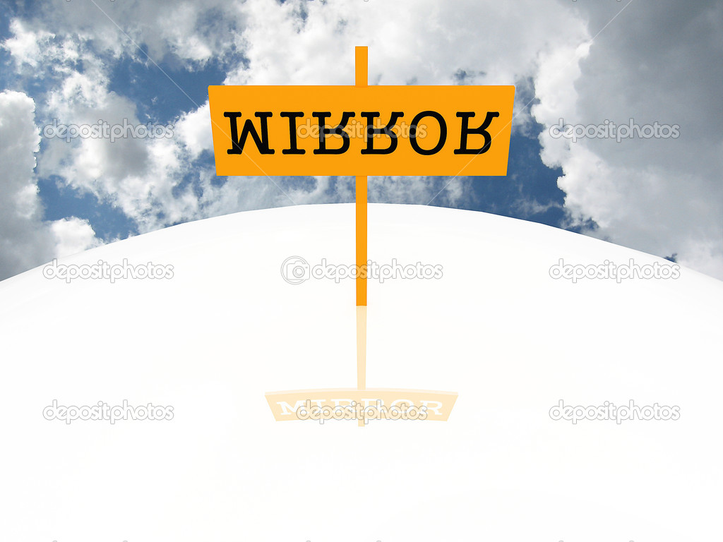 Sign with the word mirror against the sky — Stock Photo #4208839